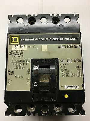 50 Amp Square D 3 Phase 240/480 Volt Thermal Magnetic Breaker SFAL3050