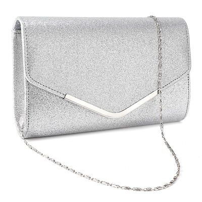 Sparkly Silver Gold Clutch Bag Wedding Evening Party Prom Ladies Handbag New