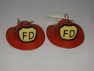A Pair Of Red Firemans Hats Christmas Ornaments From Sarah's Attic, Inc.