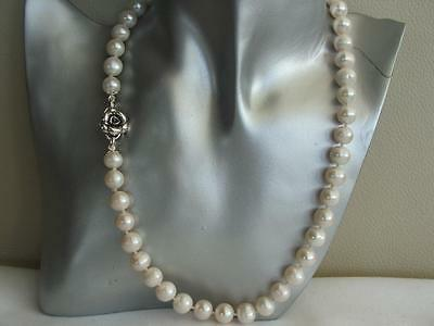 """19"""" White Cultured Pearl Necklace Real Silver Rose Clasp Knotted 9-10mm Pearls"""