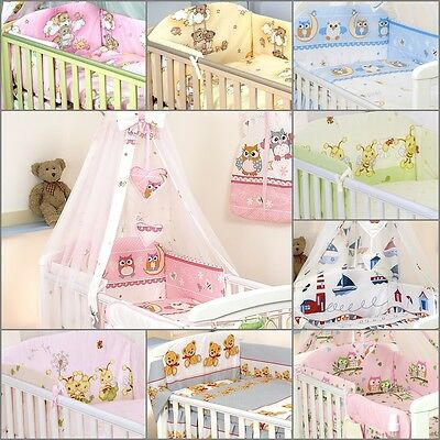 6 Pcs Bedding Set to fit Cot /Cotbed  Duvet Cover Bumper Pillow Case with Canopy