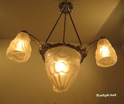 Wonderful French Art Deco Chandelier 1925 - Signed: Degué Compiegne