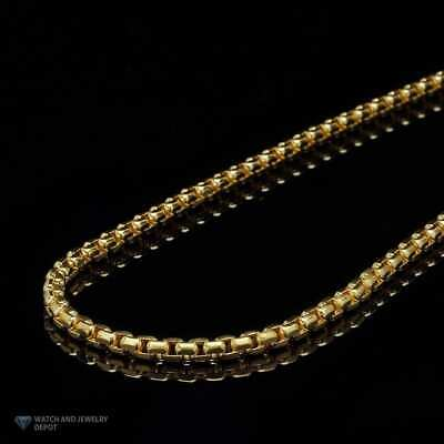 14K Solid Yellow Gold 4mm Round Box Link Chain Necklace 28""