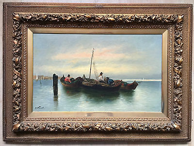 19th century oil painting on canvas signed A.VESCOVI gilt frame