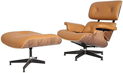 eMod Eames Style Lounge Chair & Ottoman Aniline Leather Reproduction Terracotta