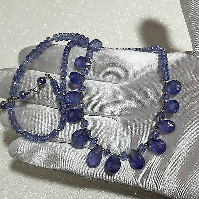 STUNNING High AAA Quality Tanzanite Pendant Beads Necklace 14k Gold 97 Total ct