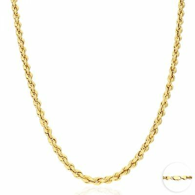 14K Real Yellow Gold 5mm Thick Rope Link Chain Necklace 22""