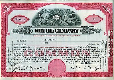 Sun Oil Company Stock Certificate Sunoco New Jersey Red