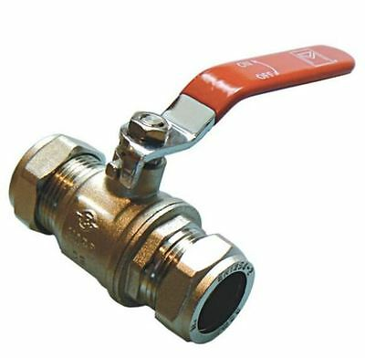 54mm Lever Ball Valve - Red Handle