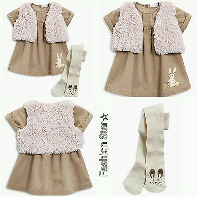 New*bnwt Next Baby Girl Newborn 0-1 0-3-6-9 18-24 Mink Cord Dress Gilet & Tights