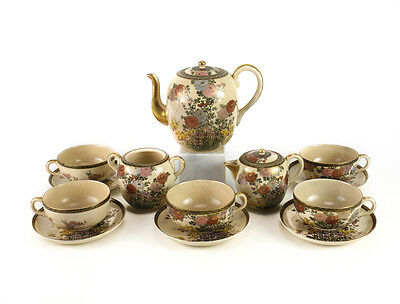 8pc Japanese Craquelure Satsuma Tea Set Service Hand painted Chrysanthemums Iris