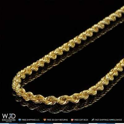 14K Solid Yellow Gold 4mm Rope Link Chain Necklace 26""