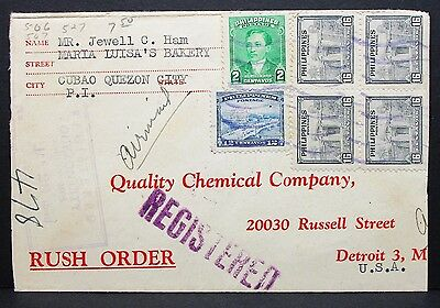Philippines Postage Registered Cover Rush Order Detroit USA Lupo Brief (I-6364