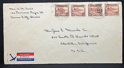 Philippines Airmail Cover two Pairs 20 Centavos USA Luftpost Paar Brief (I-6282+