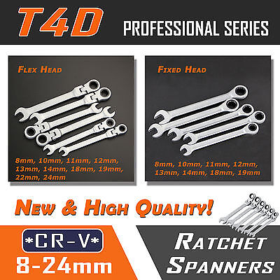 Metric Fixed Flex Head Ratchet Spanner Wrench 1PC Individual 8-24mm Nut Tool