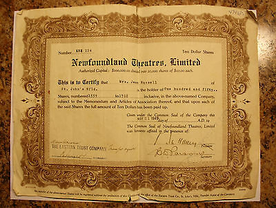 1949 Newfoundland Shares Stock Certificate  - Theatres Limited