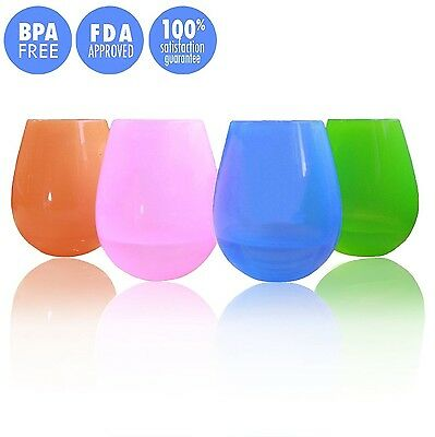 Jypc Set of 4 Flexible Silicone Camping Wine Glasses Reusable Party Cups - 12...