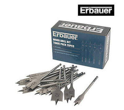 Erbauer 20x Flat Wood Drill Bits Trade Pack *NEW & VAT RECEIPT*