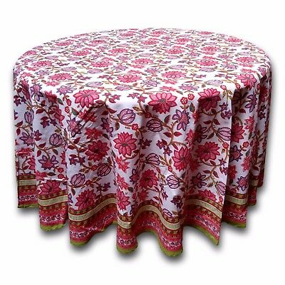 Cotton Floral 90 inches Round Tablecloth Red Pink Table Linen Roundy Beach Sheet