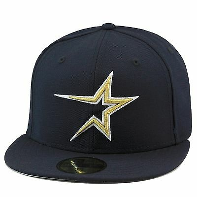 """New Era Houston Astros """"1999 Home"""" Fitted Hat Cap All Navy/Gold"""