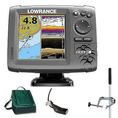 Lowrance Hook 5 Mid/High DownScan Combo Fischfinder Echolot GPS Portabel Master