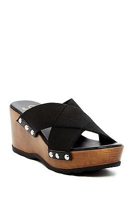 c139e77a7 Callisto of California Women s Tassye Slip-On Wedge Black Sandal size 9  ns9 28