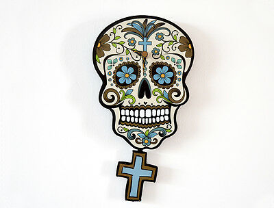 Day of the Dead Sugar Skull - Beige Skull Silhouette - Pendulum Wall Clock
