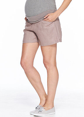 NEW - Milky Way - Panama Linen Shorts in Taupe - Maternity Shorts