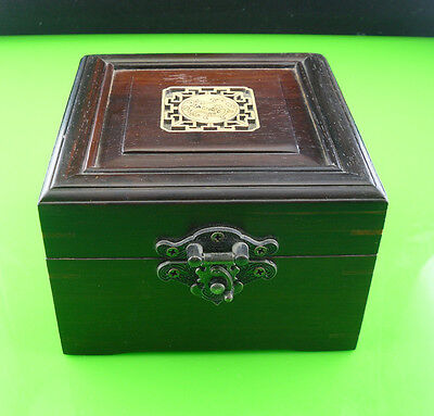 handmade Vintage Lacquer Chinese red Wood yellow Velvet Lining Jewelry box #2