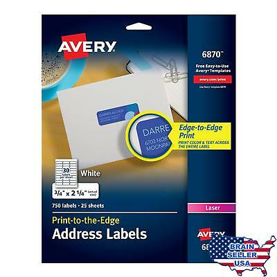 """Avery White Laser Labels for Color Printing, 3/4"""" x 2-1/4"""", 750 per Pack (6870),"""
