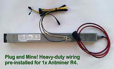 Power Supply for One Antminer R4 with Ready-To-Use PCI-e Cables