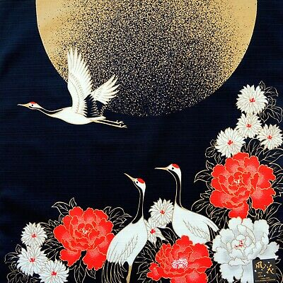 Japanese Cotton Furoshiki Cloth Crane Birds & Golden Moon Black TB6