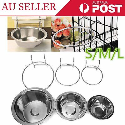 Stainless Steel Hanging Bowl Feeding Bowl Pet Bird Dog Food Water Cage Cup E6#
