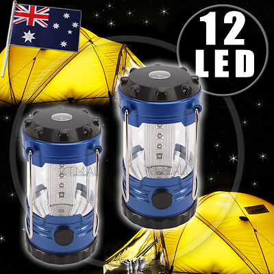 2 x New 12 LED Portable Lantern Outdoor Travel Camping Hiking Lamp Bright Light