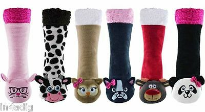 Womens Ladies Girls Novelty Xmas Gift Sherpa Animal Slipper Socks Gripper Size