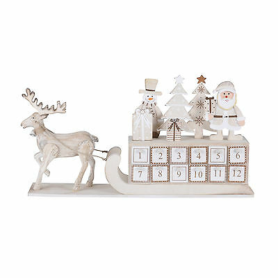 Reindeer And Sleigh Traditional Wood Crafted Advent Calendar Santa Tree Snowman
