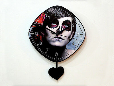 Day of the Dead Sugar Skull Catrina Calavera Makeup - Pendulum Wall Clock1