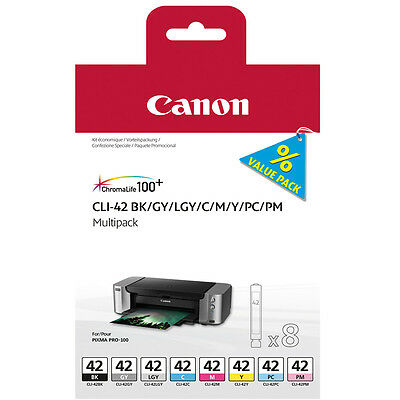 Genuine Oem Canon Pixma Cli-42 6384B010 Multipack Of 8 Ink Cartridges - Full Set