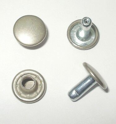 Brushed Nickel Rivets 9Mm Diameter X 9Mm Stems Double Cap Leathercraft