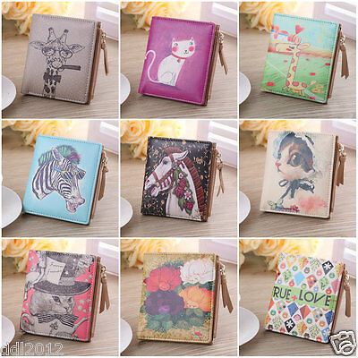 Women Vintage Small Coin Clip Leather Purse Short Wallet Clutch Handbag