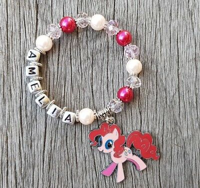 Girls Personalised Name - MY LITTLE PONY PINKIE PIE Inspired Charm Bead Bracelet