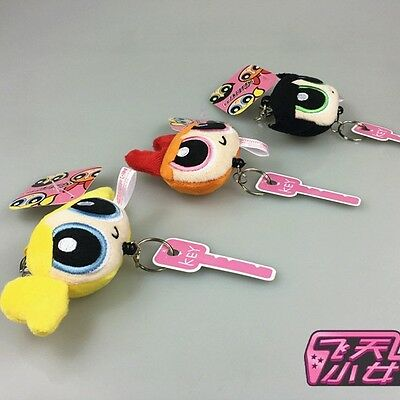 3 pcs The Powerpuff Girls Doll Blossom Buttercup Keychain Cute Pendant Gift