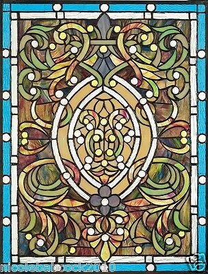 Beaux Arts period Stained glass Blue Tiffany Style 375 Authentic hand cut