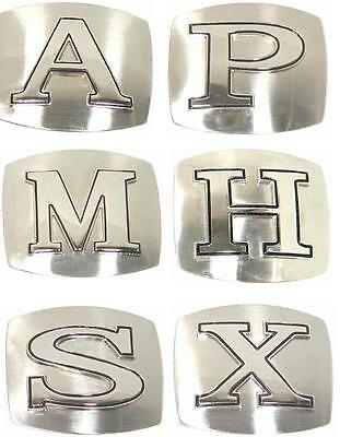 """A To Z Any Initial Chome Belt Buckle With Optional 1 1/2"""" Wide Black Belt Strap"""