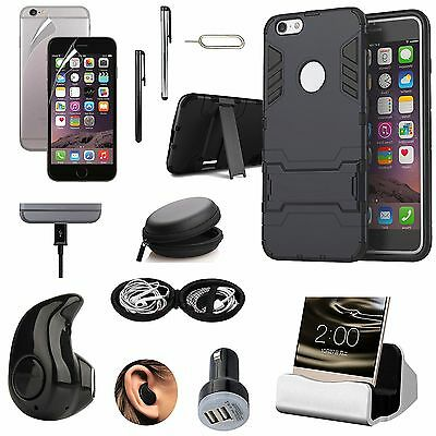 Case Cover+Charger+Bluetooth Earphones+Car Charger Accessory For iPhone 7 Plus