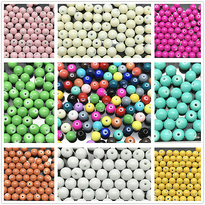 Wholesale 4mm 6mm 8mm 10mm Round Glass Pearl Spacer Loose Beads Jewelry Making