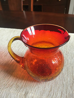 VINTAGE LARGE ART GLASS Crackle PITCHER AMBERINA! LOOK!
