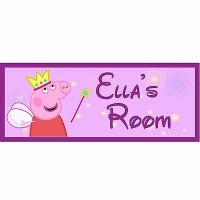 peppa pig hand made wooden personalised door plaque sign any name