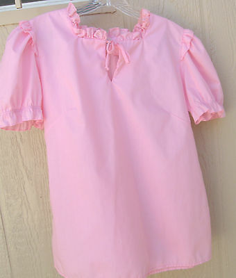Partners Please pink poly cotton setin sleeve back zip square dance blouse - M
