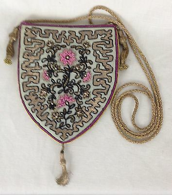 Victorian Medieval Style Embroidered Silk And Gold Thread Bead Embroidered Purse